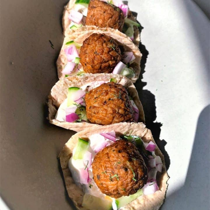 Veggie Greek Meatball Pita