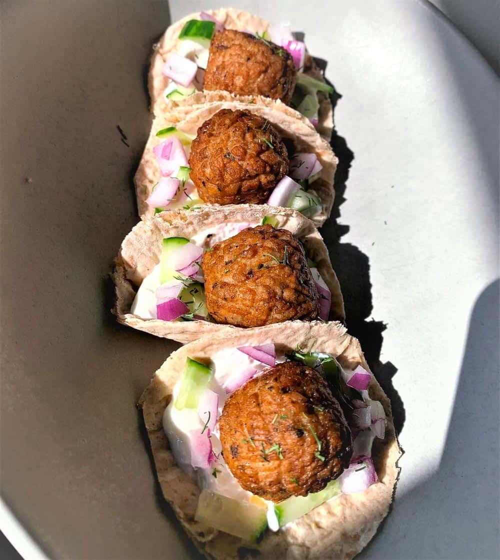 Greek Vegetarian Meatball Pitas